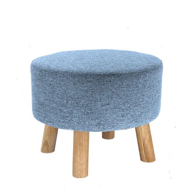 實木圓形棉麻可拆洗穿鞋凳 淺藍色