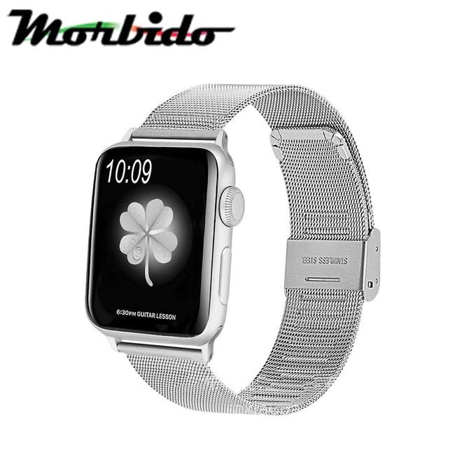 蒙彼多 Apple Watch 38mm不鏽鋼編織卡扣式錶帶 銀