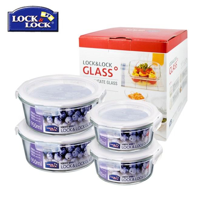 【樂扣樂扣】微波烤箱兩用 耐熱玻璃保鮮盒4入禮盒組