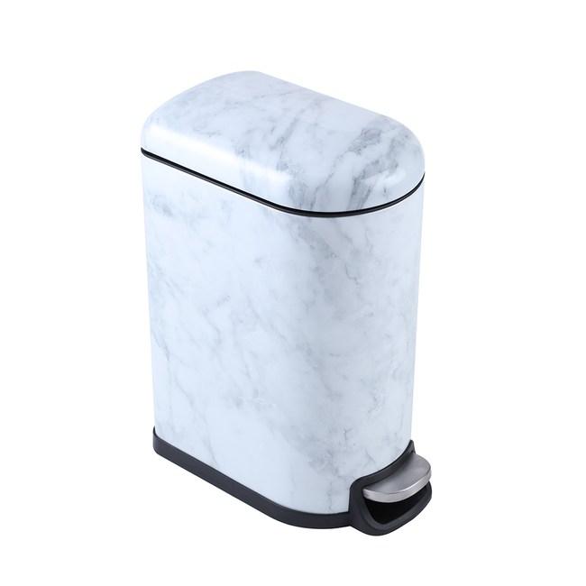 HOLA 大理石纹缓降垃圾桶10L 白