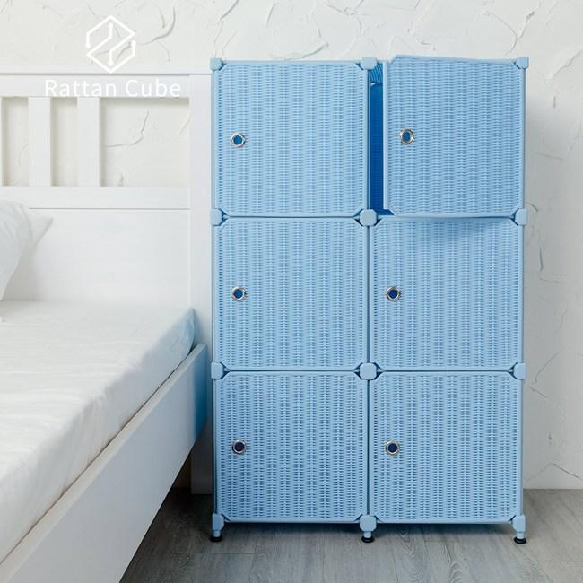 【藤立方】組合3層6格收納置物櫃(6門板+調整腳墊)-粉藍色-DIY