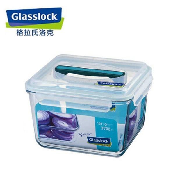韓國Glasslock 手提長方強化戶外野餐大容量玻璃保鮮盒3700ml