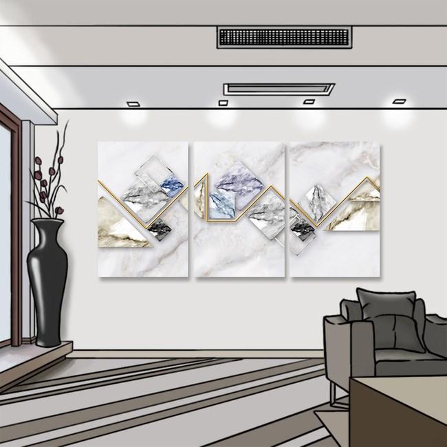 【24mama掛畫】三聯式 油畫布 無框畫 40x60cm-幾何大理石油畫布無時鐘