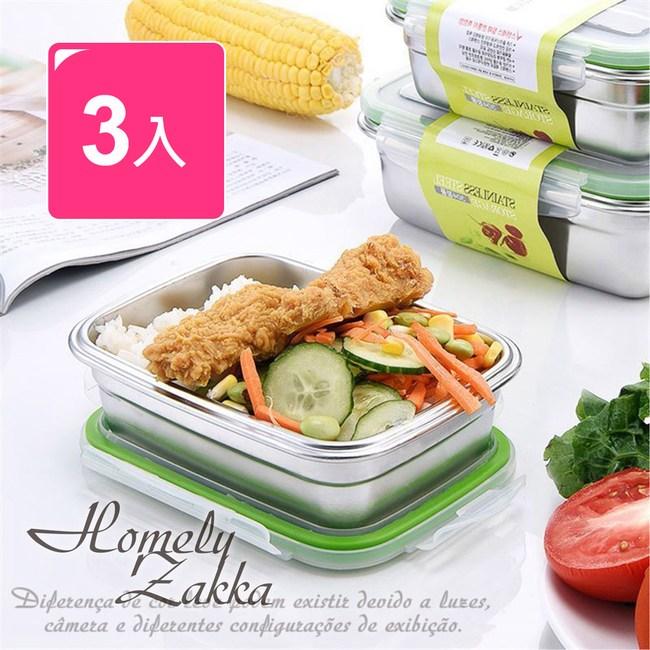 【Homely Zakka】韓式頂級304不銹鋼密封保鮮盒/便當盒3件