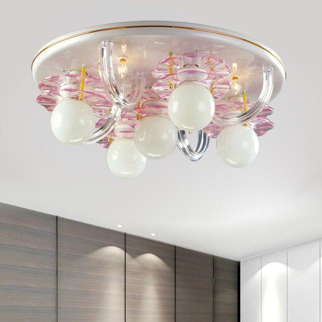 【光的魔法師 】粉紅花片吸頂五燈 粉紅色花片設計(不讓光線被燈罩遮住)