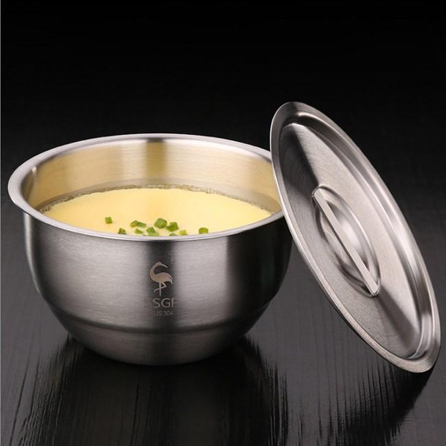 PUSH!餐具加厚304不鏽鋼帶蓋蒸蛋碗燉湯碗E129