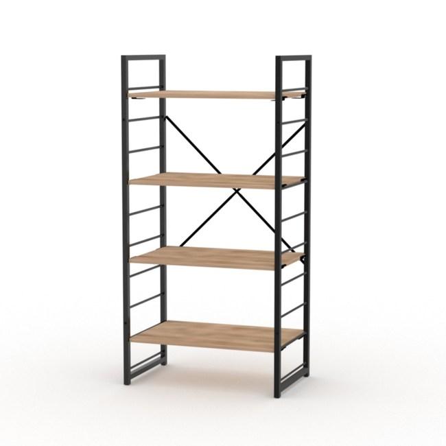 (組)特力屋萊特四層架黑框/淺木紋-60x40x128CM