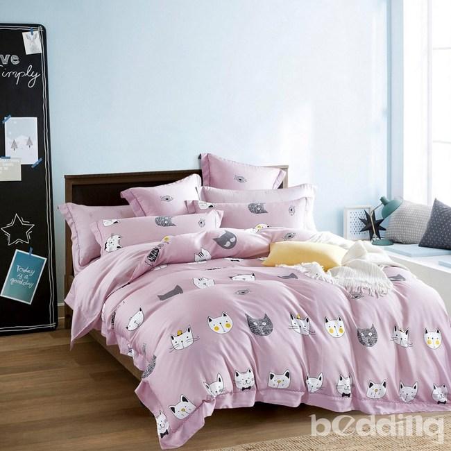 BEDDING-100%天絲二件式枕套床包組-三文魚(單人)