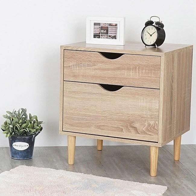 Homelike 卡雅二抽床頭櫃-原木