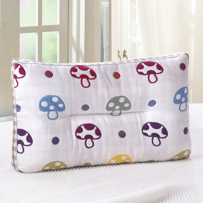 HOYACASA彩色香菇-超柔紗布可水洗兒童Q棉枕