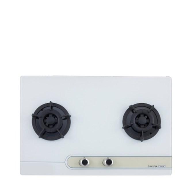 無安裝-櫻花雙口檯面爐白色瓦斯爐桶裝瓦斯G-2623GWL-X