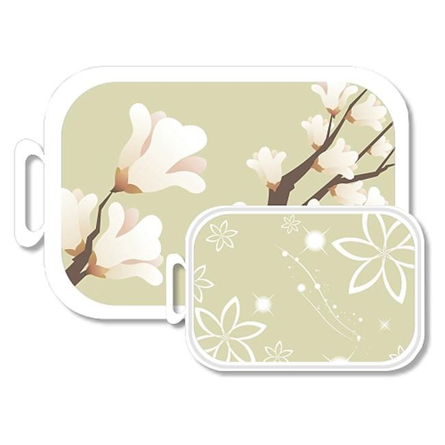 韓國奈米銀水彩花卉抗菌砧板(買大送小)