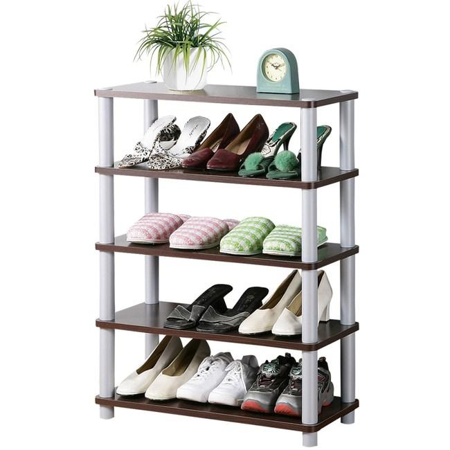 【Homelike】簡約五層開放式鞋架(二色可選)胡桃色