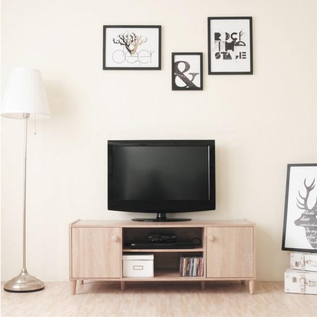 Hopma和風原木系二門電視櫃(淺橡木)