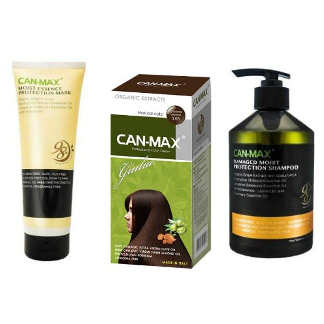 CAN-MAX義大利康媚絲有機染髮霜(3.05可可)*1+洗髮精+護髮