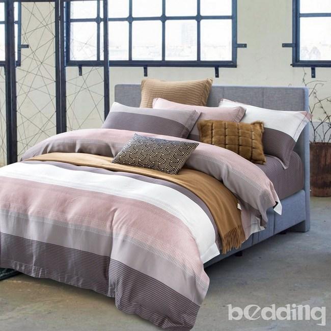 BEDDING-100%天絲三件式枕套床包組-時尚先生咖(雙人)