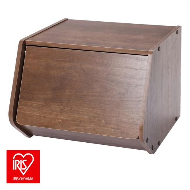 日本 IRIS 木質可掀門堆疊櫃 寬40CM 深木色 採E1板材
