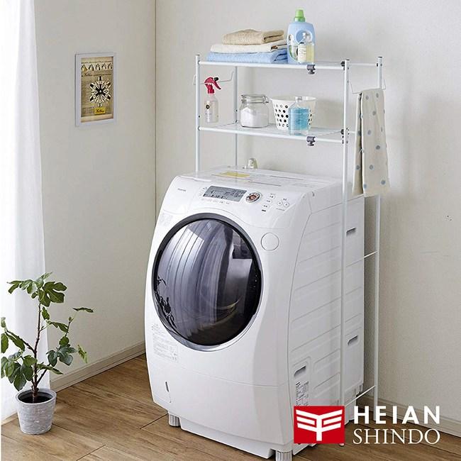 日本【平安伸銅】多功能伸縮二層洗衣機/衛浴置物架附毛巾架 TLR-1