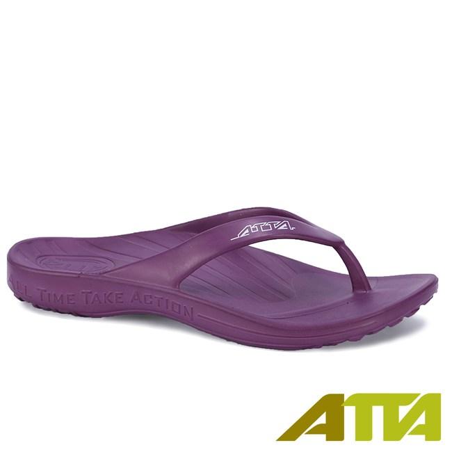 ATTA運動風簡約夾腳拖鞋-紫7