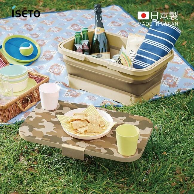 【日本ISETO】日製二合一野餐露營折疊式提籃餐桌(附卡扣)迷彩棕