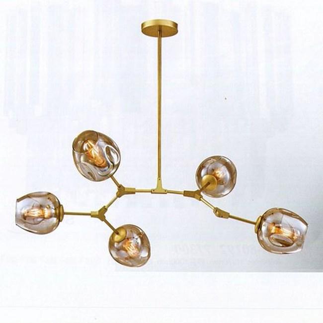 YPHOME 金屬玻璃半吸頂五燈 S80202H