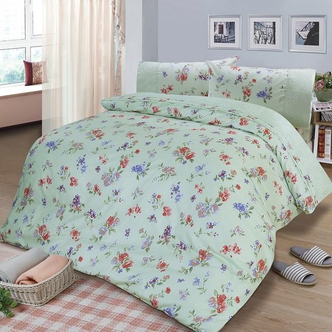 【FITNESS】精梳棉雙人四件式兩用被床包組-穠芳(綠)