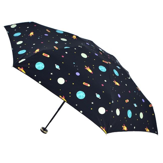 2mm 100%遮光 星幻夜空黑膠降溫五折手開傘_宇宙