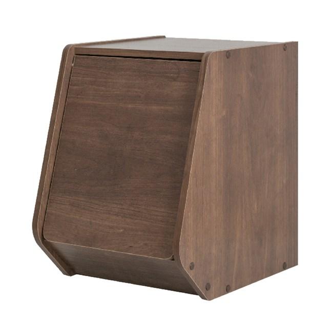 日本IRIS木質可掀門堆疊櫃W30H40-深木色