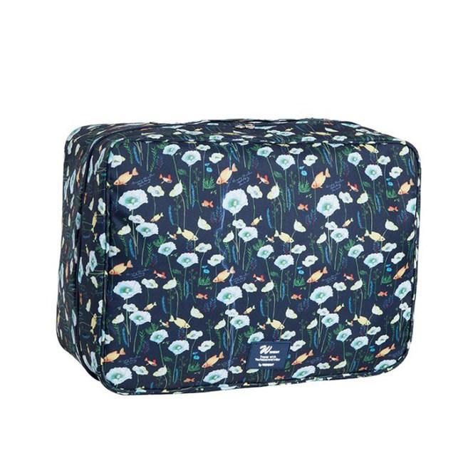 【韓版】多彩繽紛旅遊行李拉桿包/小型手提行李箱(深藍)
