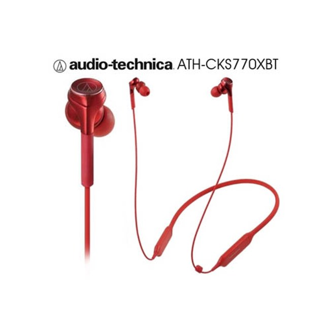 鐵三角 ATH-CKS770XBT 紅 繞頸式入耳式耳機 藍芽重低音