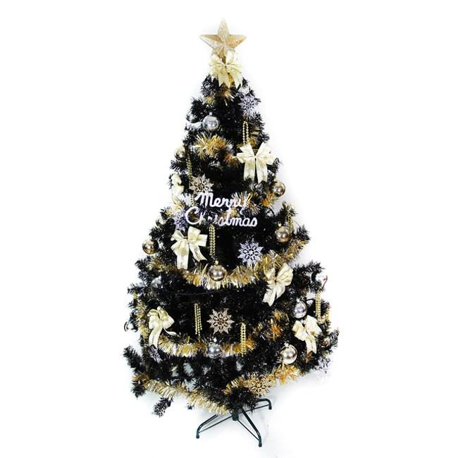 摩達客 台灣製15尺時尚豪華版黑色聖誕樹+金銀色系配件組(不含燈)