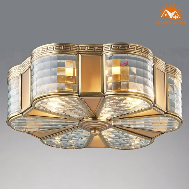 HONEY COMB 美式臥室銅製品吸頂三燈 EL-1673銅製品