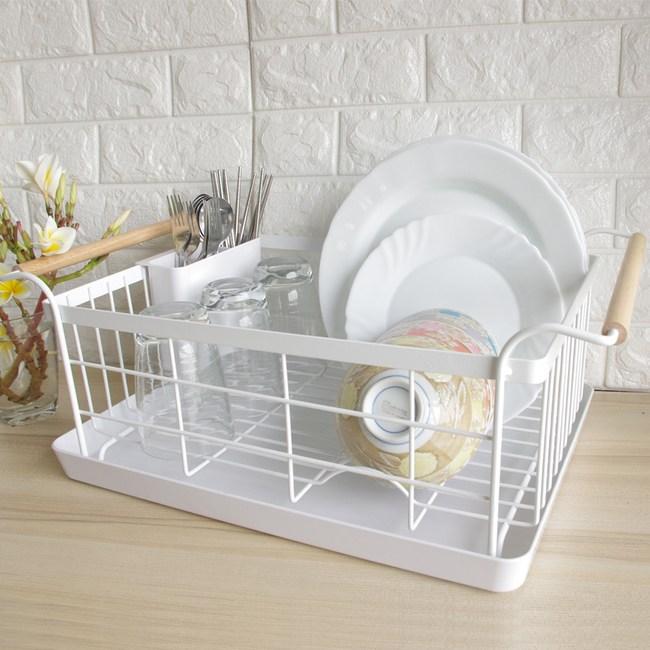 時尚工藝簡約橡木柄碗盤瀝水籃收納架