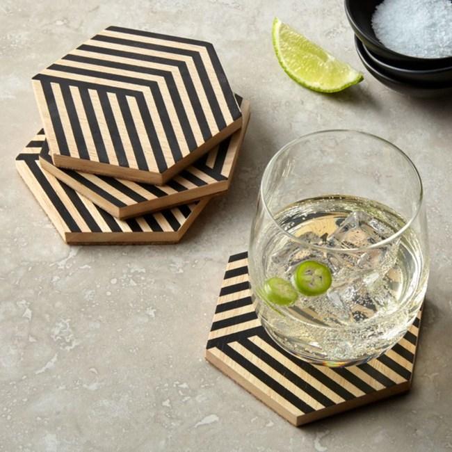 Crate&Barrel Hex 六角雙色條紋杯墊 4入