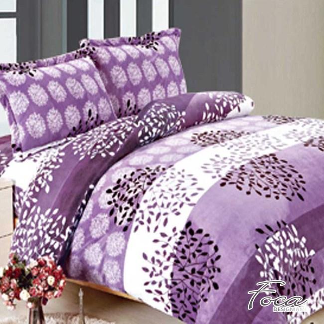 【FOCA紫語煙花】雙人-極緻保暖法萊絨四件式兩用毯被套床包組