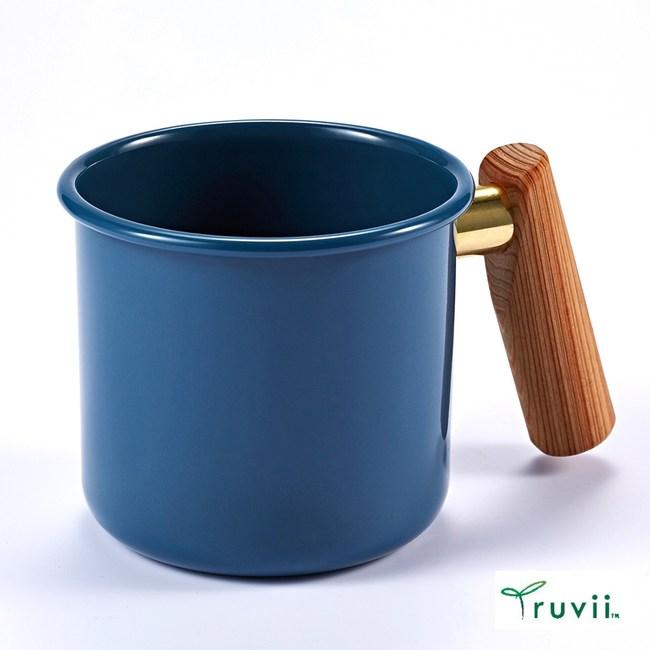 Truvii 木柄琺瑯馬克杯400ml(波斯藍)
