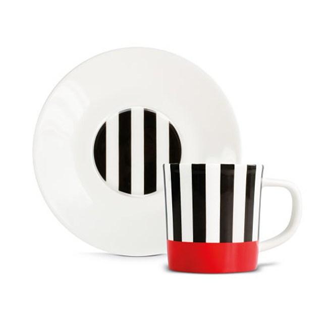 REMEMBER|骨瓷義式咖啡杯組(紅黑條紋)