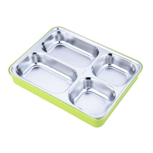 PUSH!餐具用品不鏽鋼保溫便當盒E74-7綠色+提袋綠色+提袋