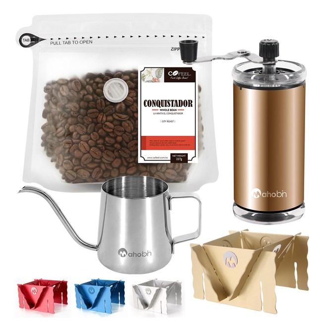 CoFeel哥斯大黎加征服者中深烘焙咖啡豆半磅+磨豆機+細嘴壺+咖啡架