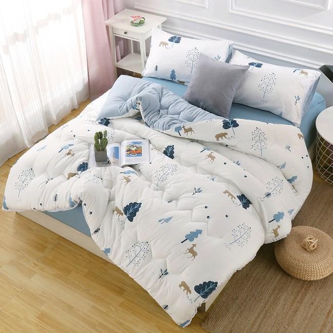 【BELLE VIE】法式布蕾絲可水洗加大床包暖被四件組-熊出沒藍熊出沒-藍