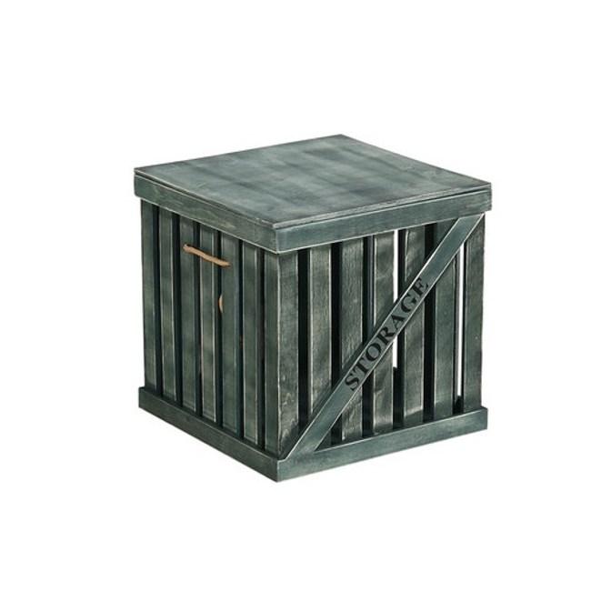 木質簍空附蓋收納箱 綠色 中
