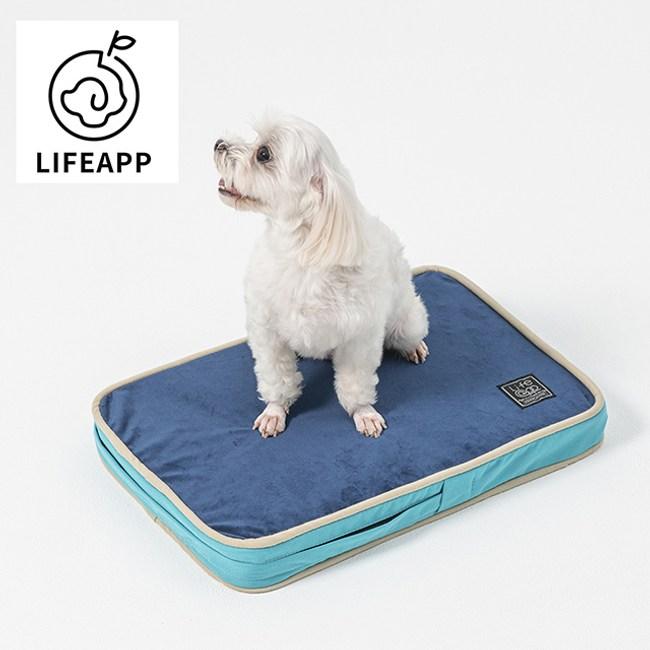 LIFEAPP經典絨布睡墊-不易沾毛-藍藍-L大型犬。長期照護。高齡犬貓