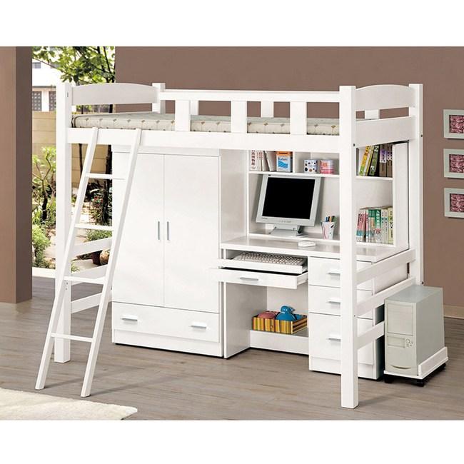貝莎3.8尺白色多功能挑高組合床