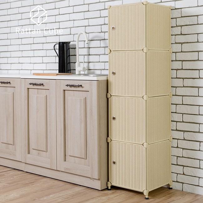 【藤立方】組合4格收納置物櫃(4門板+調整腳墊)-自然色-DIY
