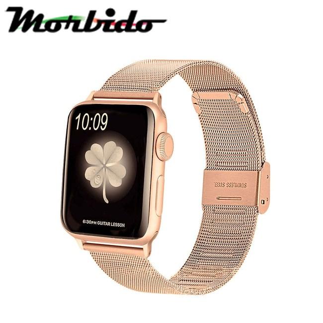 蒙彼多 Apple Watch 42mm不鏽鋼編織卡扣式錶帶 玫瑰金