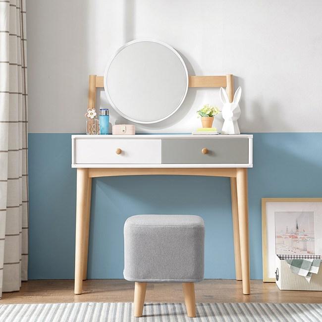 林氏木業北歐櫸木現代簡約小清新化妝桌椅組合DK1C