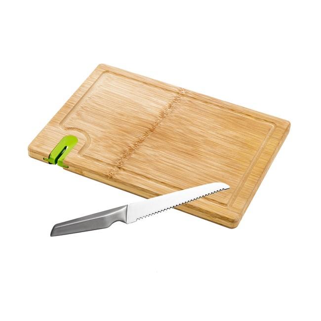 (組)爵仕不鏽鋼麵包刀+一片竹砧板附磨刀器