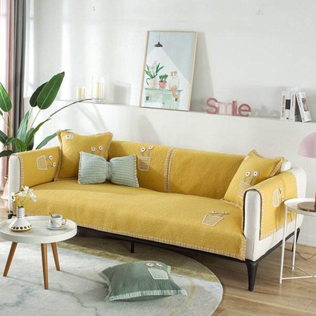 【新作部屋】純棉立體刺繡小花盆防滑沙發墊-三人坐墊陽光黃