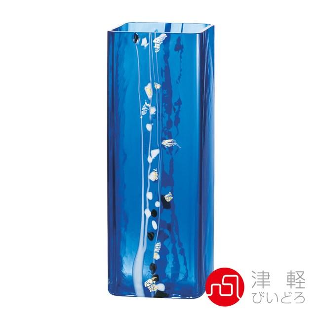 日本津輕 手作冰晶藍花器