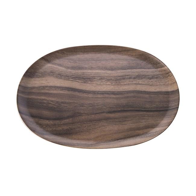 HOLA 曼蒂美耐皿橢圓托盤35cm木紋